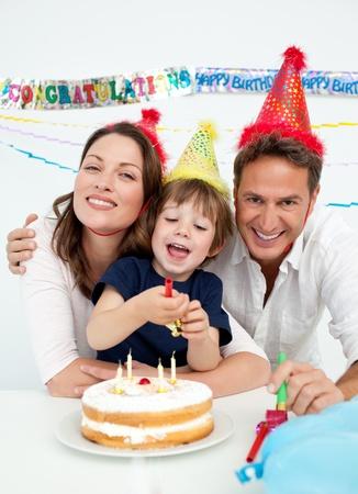 Portrait of a parents celebrating little their son photo