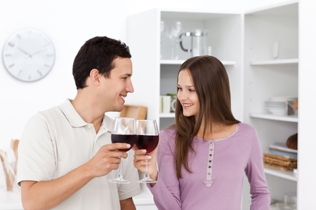 Lovely couple giving a toast with red wine Stock Photo - 10215171