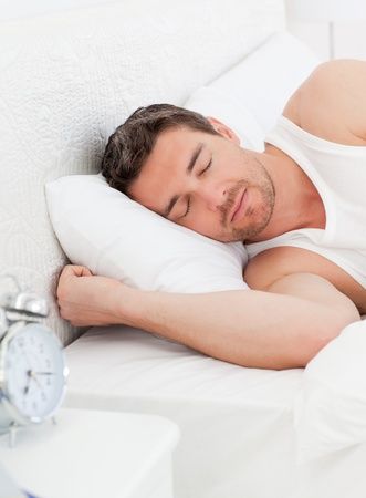 A peaceful man in his bed before waking up Stock Photo - 10217286