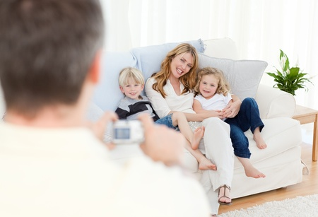 Man taking a photo of his family Stock Photo - 10216957