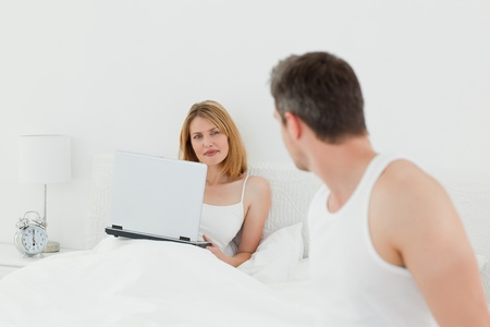 Man talking with his girlfriend photo
