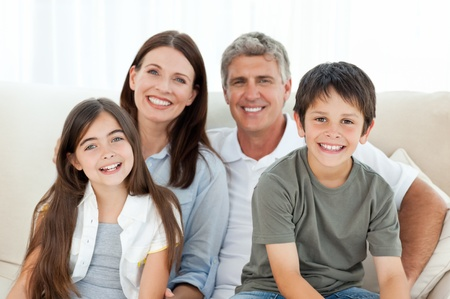 family smiling: Portrait of a smiling family