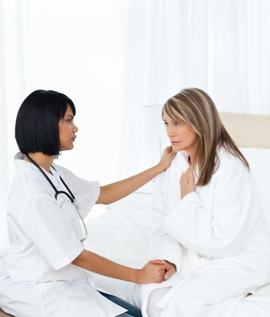 home care nurse: Senior talking with her nurse