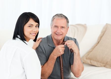 Nurse with her patient looking at the camera Stock Photo - 10207519