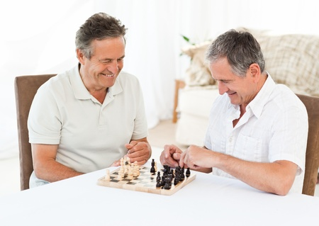 Men playing chess while their wifes are talking photo