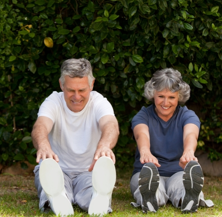 retired couple: Retired couple doing their exercises