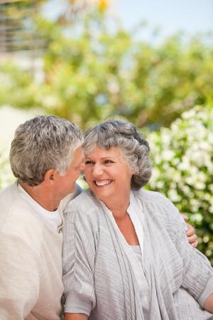 Senior couple at the garden photo
