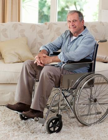 amputation: Senior man in his wheelchair