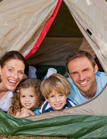 Joyful family camping in the garden Stock Photo - 10173502