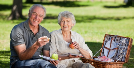 Retired couple  picnicking in the garden  photo