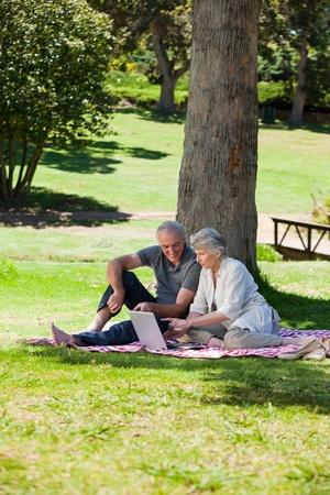 Senior couple  picnicking in the garden  photo
