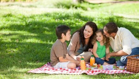pique nique en famille: Famille pique-niquer Banque d'images
