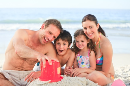 Family at the beach photo