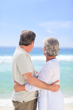 Elderly man embracing her wife Stock Photo - 10170964