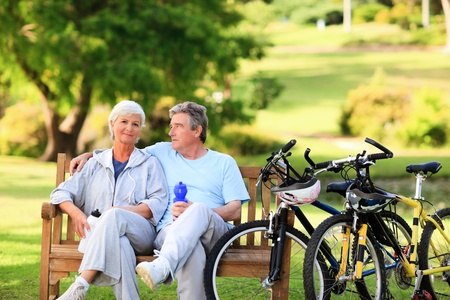 active seniors: Mature couple with their bikes