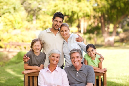 grandparents family: Family in the park