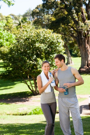 Sporty lovers in the park photo