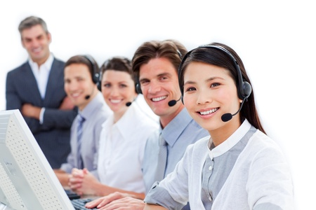Diverse business co-workers working together photo