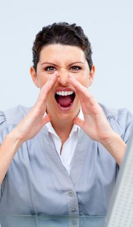 competitive business: Competitive business woman yelling