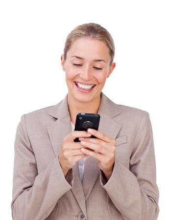 Elegant businesswoman sending a text  photo