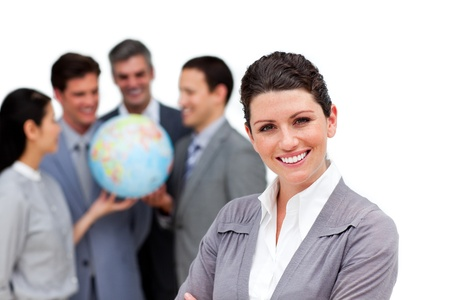 Cute international business team working together photo