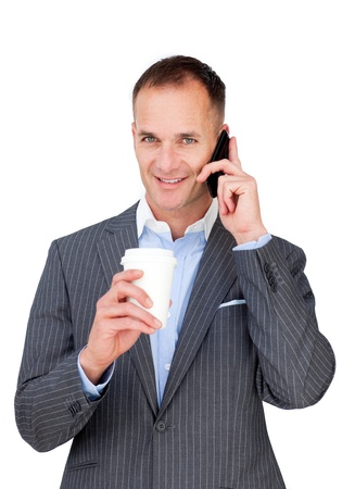 Attractive businessman talking on phone  photo