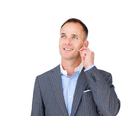 Confident businessman with headset on  photo