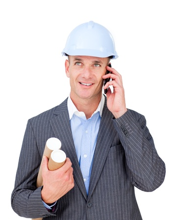 Attractive male architect talking on phone  photo