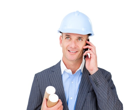 construction draftsman: Positive male architect talking on phone