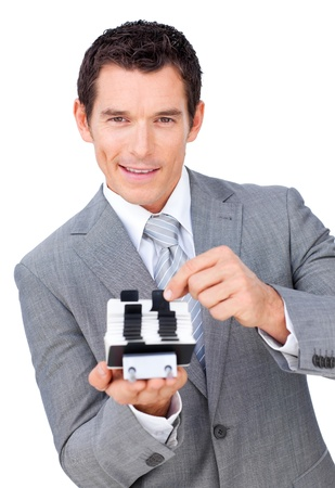 Assertive businessman searching for the index  photo