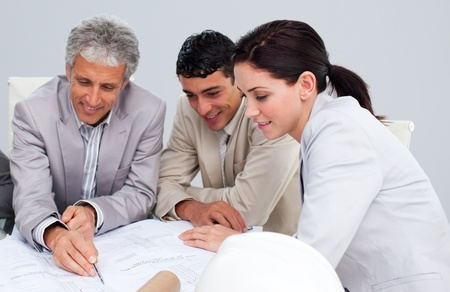 contractors: Portrait of architects studying plans Stock Photo
