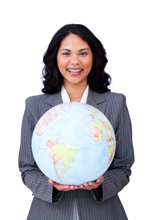 visionary: Visionary young businesswoman smiling at global business  Stock Photo