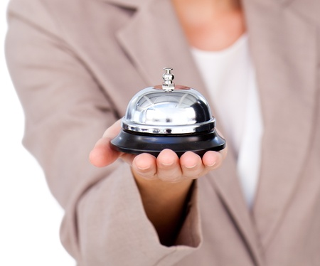 reception room: Focus on a service bell