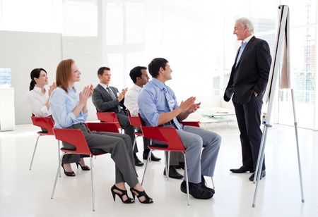 Senior businessman giving a conference Stock Photo - 10218921