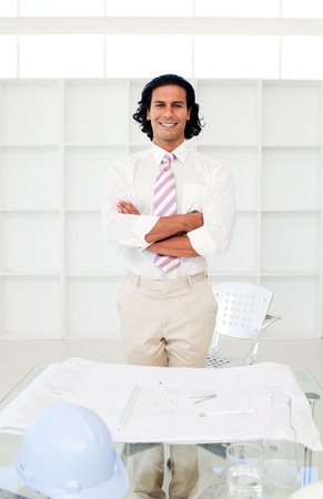 Attractive arhitect with folded arms Stock Photo