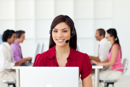 Charismatic Businesswoman with headset on  photo
