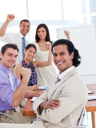 International business team celebrating a success photo
