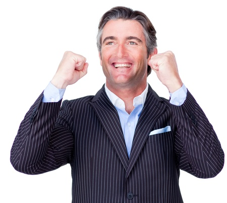 Attractive businessman punching the air  photo