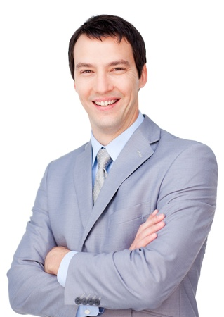 Portrait of a smiling businessman with folded arms photo