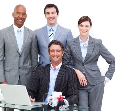 Close-up von einem gl�cklichen business team Stockfoto