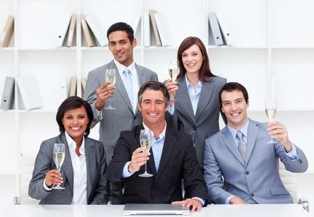 Successful business people celebrating a victory Stock Photo - 10217468