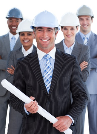 architect tools: Portrait of charismatic architect team Stock Photo