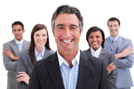 multinacional: Equipo de negocios sonriente que muestra la diversidad Foto de archivo