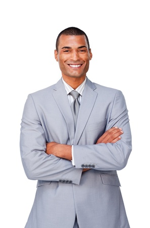 Attractive Afro-american businessman with folded arms  Stock Photo - 10244477