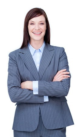 Laughing businesswoman with folded arms  photo