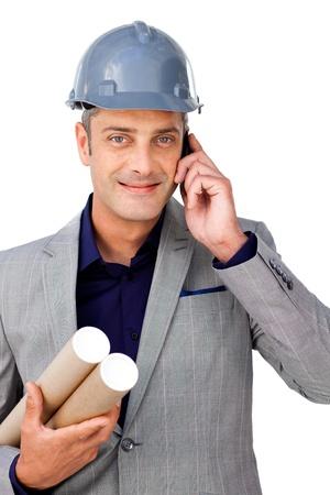 Confident male architect on phone  photo