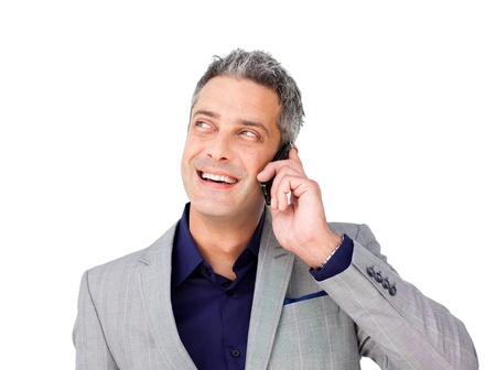 Laughing Businessman on phone looking up  photo