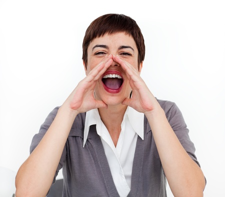 timorous: Attractive businesswoman shouting  Stock Photo