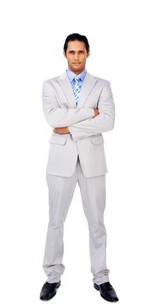 Serious Gesch�ftsmann mit verschr�nkten Armen Stockfoto