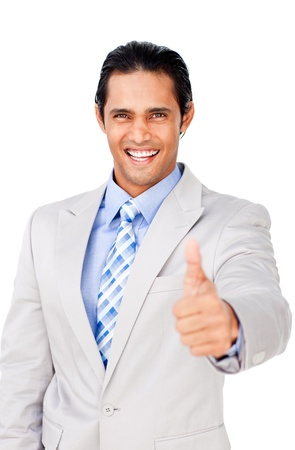 Young businessman with thumb up celebrating a victory photo